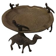 Cast Brass Ashtray with Camel and Bird Figures