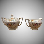 Hand Painted Porcelain Nippon Sugar Bowl and Creamer
