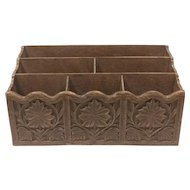 Faux Carved Wood 1970's Lerner Desk Organizer