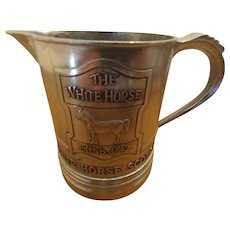 White Horse Scotch Pewter Advertising Pitcher