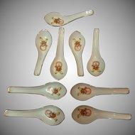 Set of 9 Porcelain Asian Soup Rice Spoons