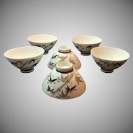 Made in Japan 6 Bamboo Pattern Rice Soup Bowls