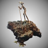 Lava Rock with Brass Figure Holding Spear