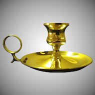 Vintage Brass Chamberstick Candleholder with Finger Loop