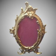 Table Picture Frame Cast Brass Rococo and Angel