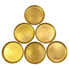 Set of 6 Gold and Black Japan Lacquer Coasters