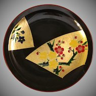 Asian Floral Lacquer Serving Plate or Tray