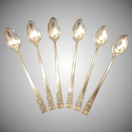 Set of 6 Oneida Community Plate Coronation Pattern Ice Tea Spoons