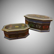 Pair of Foreside Hand Made Painted Wood Trinket Boxes