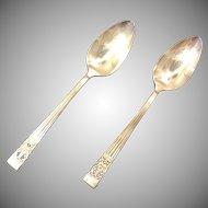 Pair Oneida Community Serving Spoons Coronation Pattern