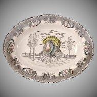 Ironstone Ceramic Turkey Platter