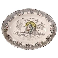 Ironstone Ceramic Turkey Platter
