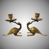 Vintage Pair of Brass Dragon or Mythical Bird Candlesticks