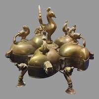 5 Compartment Brass Peacock Spice Kumkum Box Free Shipping
