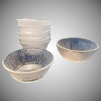 Set of 7 Sasaki Rain Glass Fruit Dessert Bowls