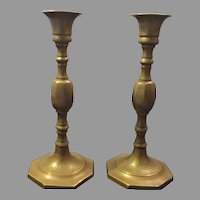 Pair of Etched Brass Candlesticks