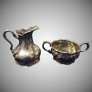 Forbes Silver Co. Floral Quadruple Silverplate Creamer and Sugar Bowl