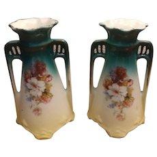 "Pair Czecho-Slovakia Ceramic Floral Handled Vases 5"""