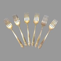 "Set of 6 Silverplate Community Plate 6 1/2"" Salad Forks."