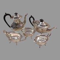 5 Piece Cheltenham Sheffield England 02004 Silverplate Serving Set Coffee Pot / Teapot / Sugar Bowl / Creamer