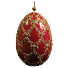 Vintage Red Egg with Gold Glitter Christmas Ornament