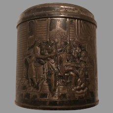 Sale Small Round Embossed Colonial Scene Tin Container and Lid