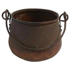 Vintage Copper Cauldron Pot