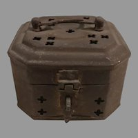 Small Footed Octagonal Brass Cricket Cage / Box