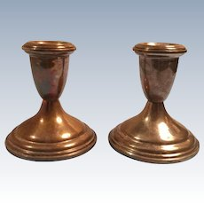 Pair of Empire Sterling Weighted Candle Holders