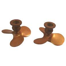 Pair of Brass Propeller Candleholders
