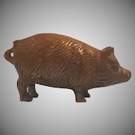 Solid Brass Pig Paperweight