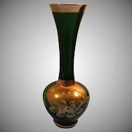 Translucent Green Glass Vase with Gold Trim and Applied Floral Details