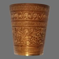"""Made in India Etched Brass Small Cup 2 1/4"""""""