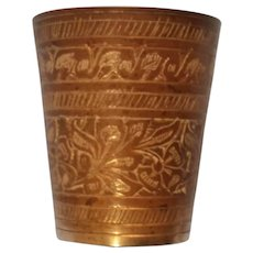 Made in India Etched Brass Small Cup 2 1/4""