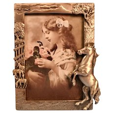 Pewter Picture Frame with Horses