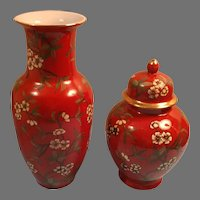 Sale Made in Japan Porcelain Red Floral Vase and Matching Tea Caddy