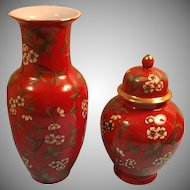 Made in Japan Porcelain Red Floral Vase and Matching Tea Caddy