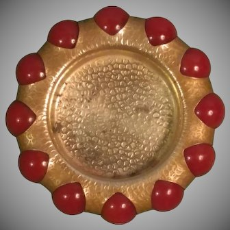 Circa 1940 Fisher Jewel Tray Hammered Brass and 12 Marbles