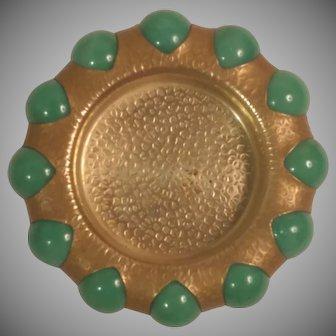 Circa 1940 Fisher Jewel Tray 12 Green Marbles