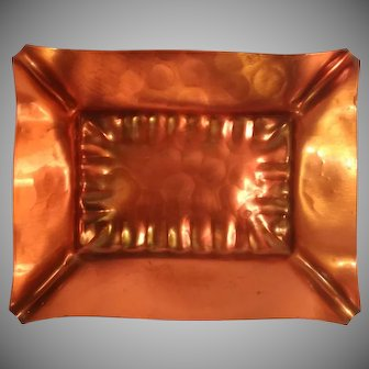 1950's Gregorian Copper Hammered Finish Ashtray