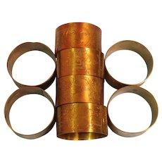 Vintage Set of 8 Etched Brass Napkin Rings
