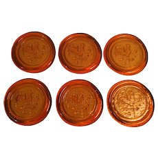 Set of 6 Amber Glass Rooster on a Weather Vane Coasters