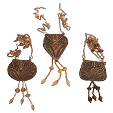 Set of 3 Hinged Wire Purse or Cage Linked Chain Hanging Ornament Free Shipping