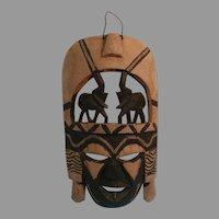 Kenya Hand Carved Decorative Mask with Elephant Headdress