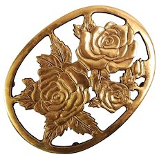 Cast Brass Oval Trivet with Rose and Leaf Pattern