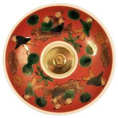 Asian Porcelain Dish or Bowl Pillar Candleholder
