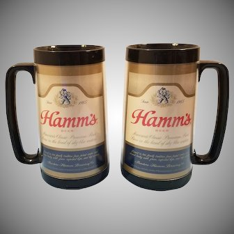 Pair of1970's Thermo-Serv 16 Ounce Hamm's Beer Mugs
