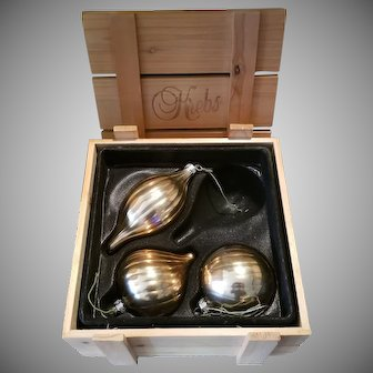 Krebs Christmas Ornaments 3 of a Set of 4 with Wood Box