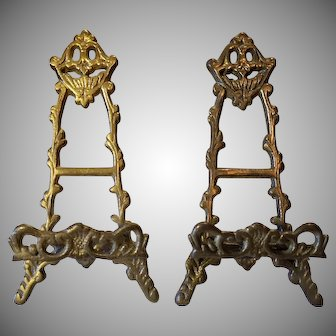 Matching Pair of Ornate Cast Brass Easel Picture Frame Stands