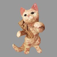 Ceramic Pink and White Sponge Paint Katy's Country Charm by Karen Playing Cat